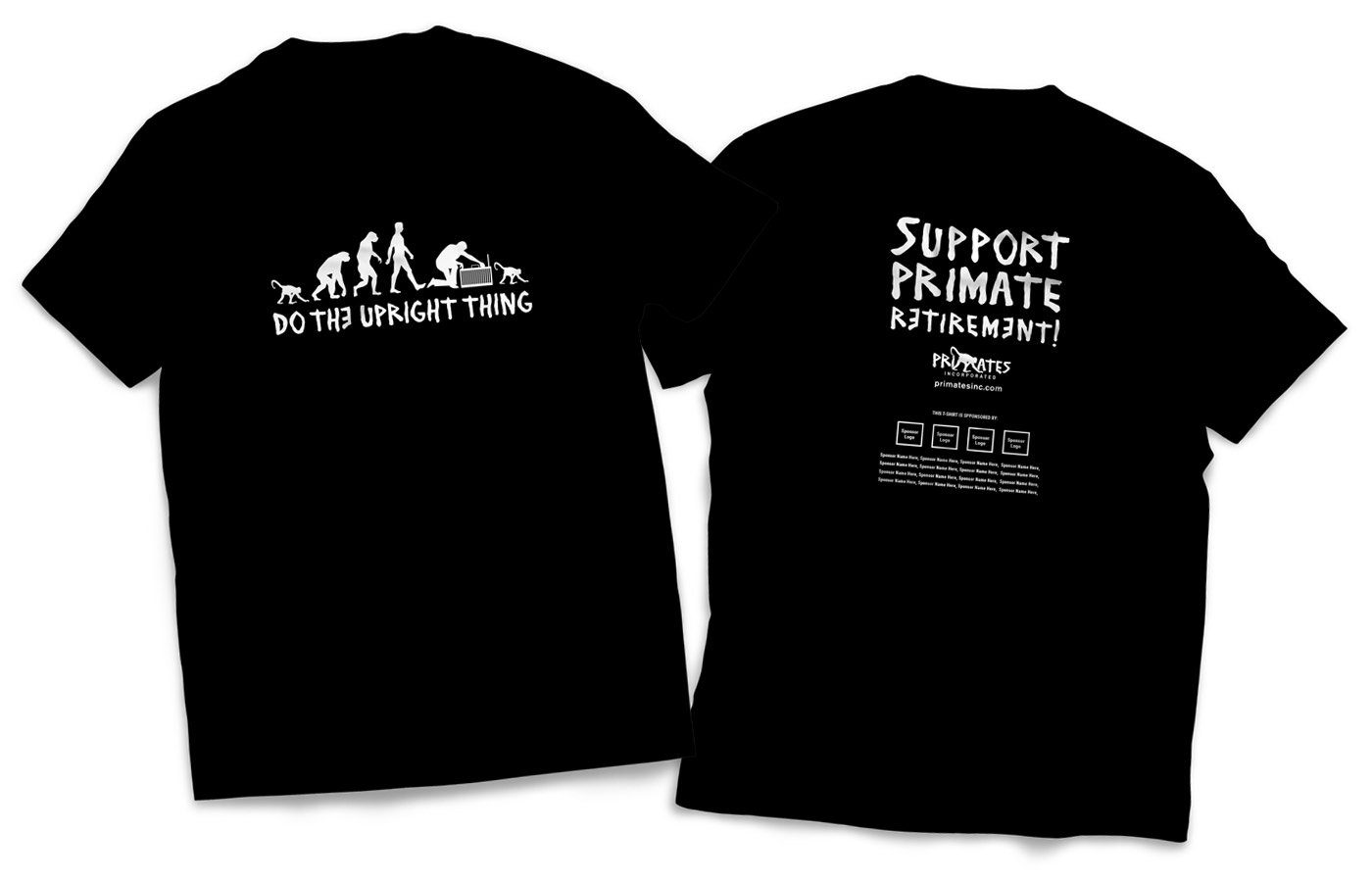 Primates Inc. Upright t-shirt design